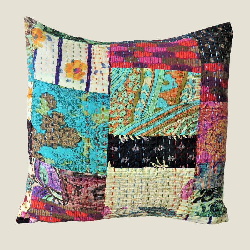 Recycled Patchwork Kantha Cushion Cover - 37