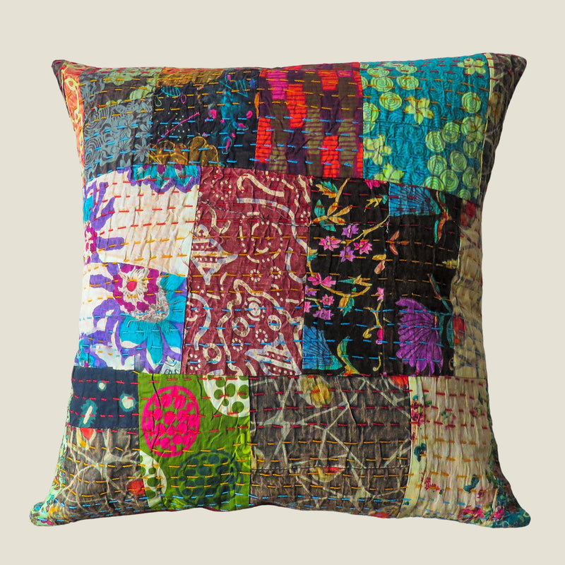 Recycled Patchwork Kantha Cushion Cover - 39