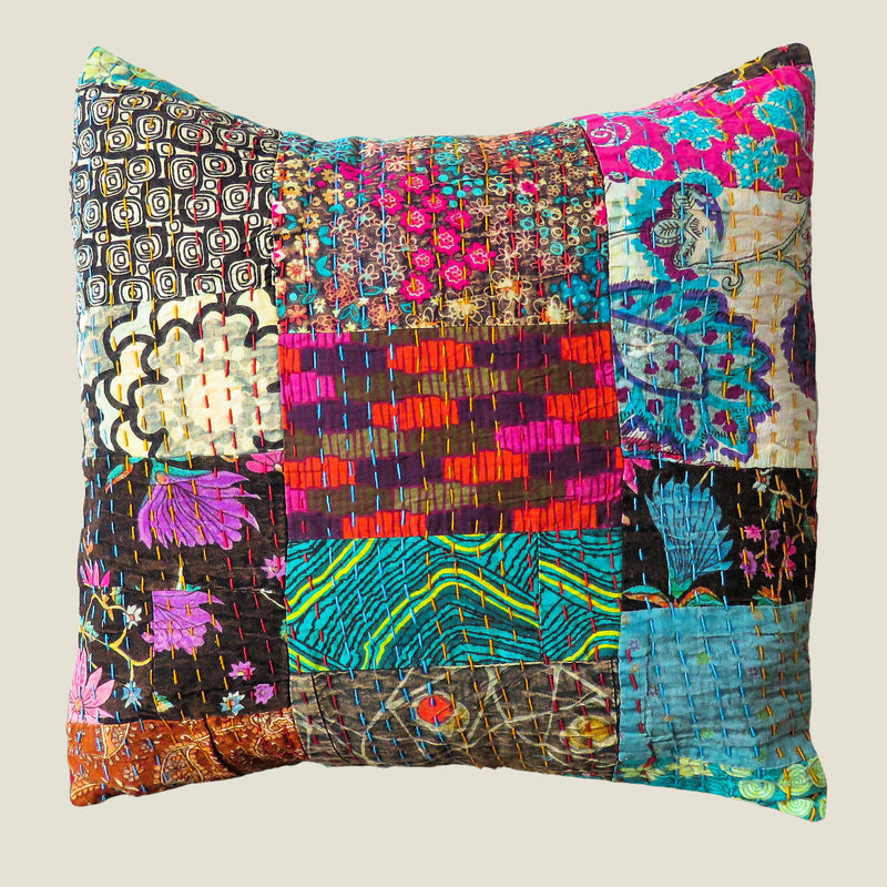Recycled Patchwork Kantha Cushion Cover - 40