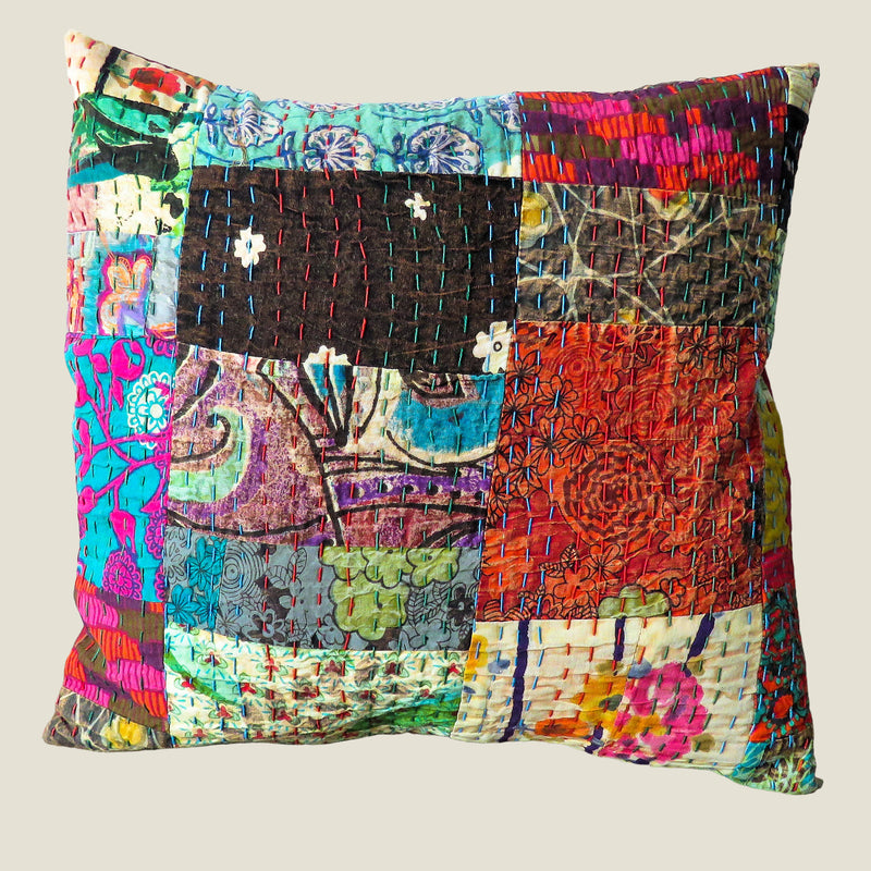 Recycled Patchwork Kantha Cushion Cover - 42