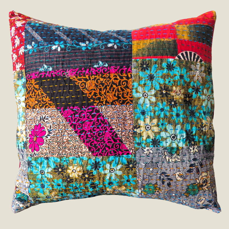 Recycled Patchwork Kantha Cushion Cover - 43