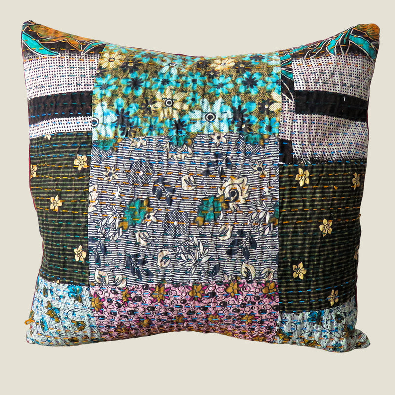 Recycled Patchwork Kantha Cushion Cover - 44
