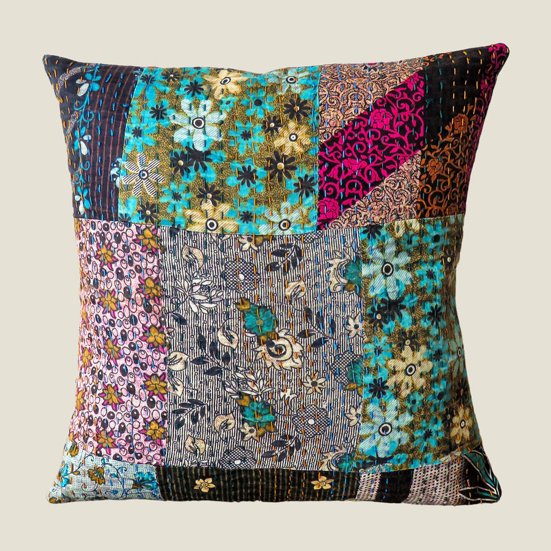 Recycled Patchwork Kantha Cushion Cover - 45