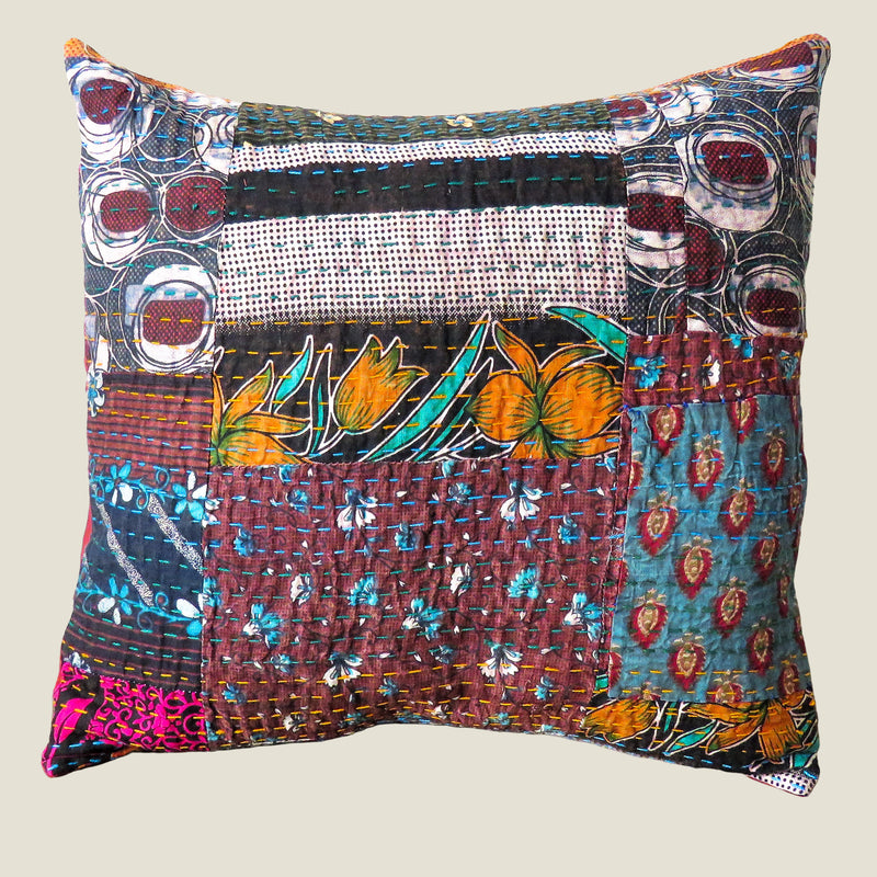 Recycled Patchwork Kantha Cushion Cover - 47