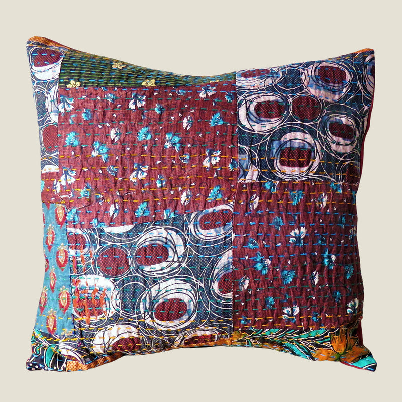 Recycled Patchwork Kantha Cushion Cover - 48