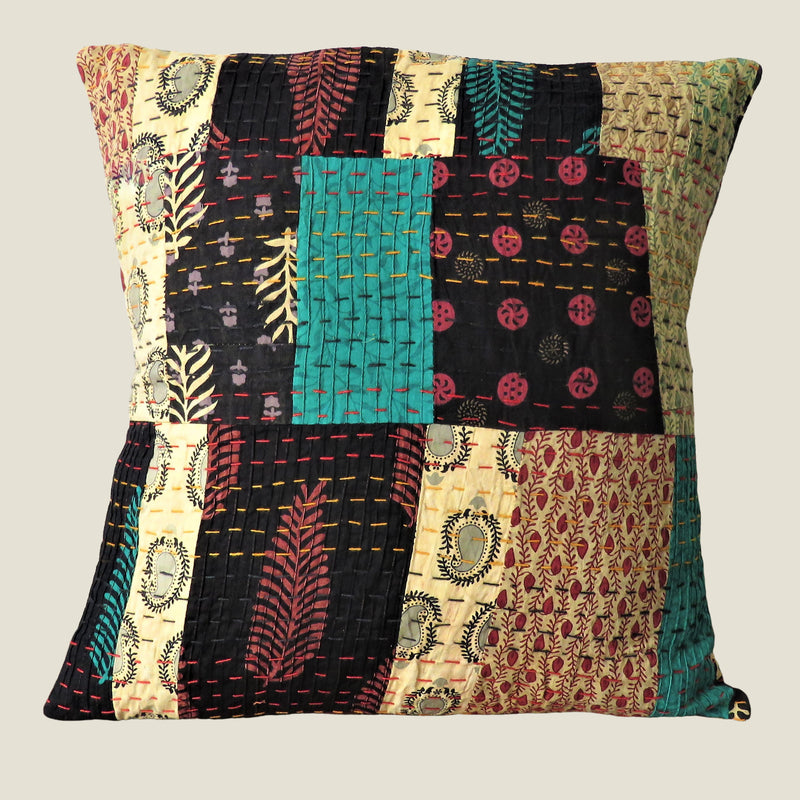 Recycled Patchwork Kantha Cushion Cover - 51