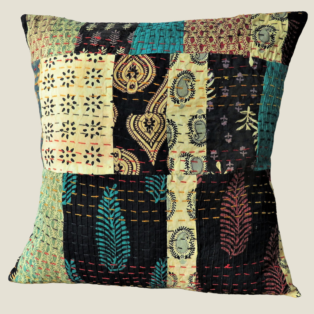 Recycled Patchwork Kantha Cushion Cover - 54