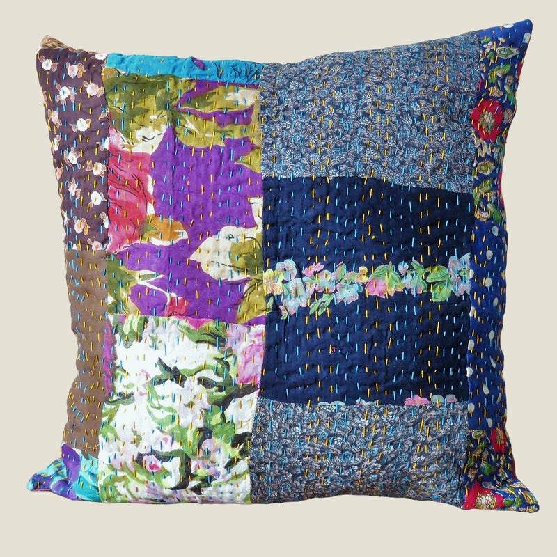 Recycled Patchwork Kantha Cushion Cover - 61