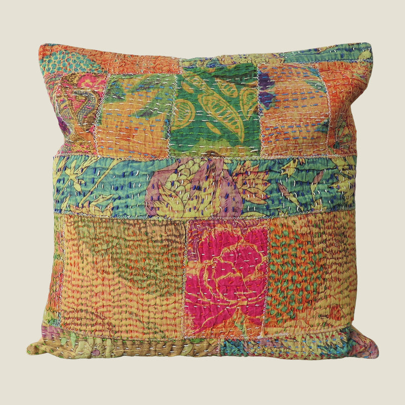 Recycled Patchwork Kantha Cushion Cover - 77