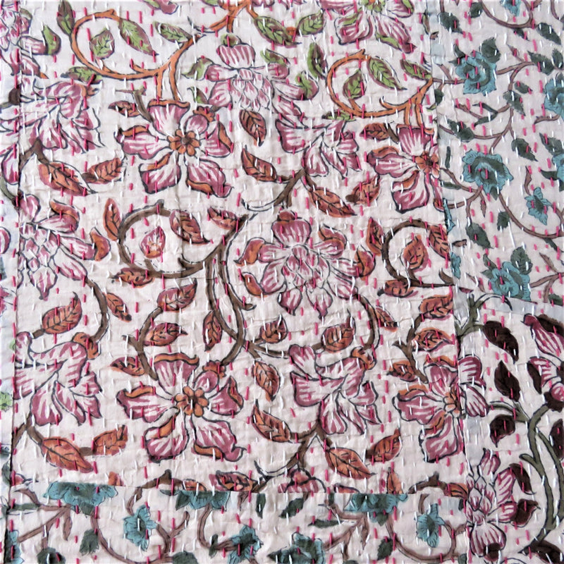 Floral Patchwork Kantha Bed Cover & Throw - 20
