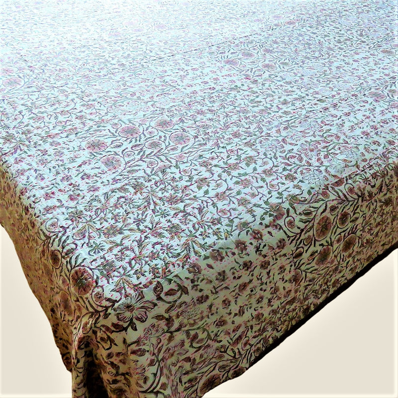 Pink Floral Kantha Bed Cover & Throw - 35