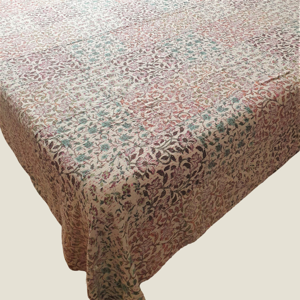 Pink Floral Kantha Bed Cover & Throw - 36