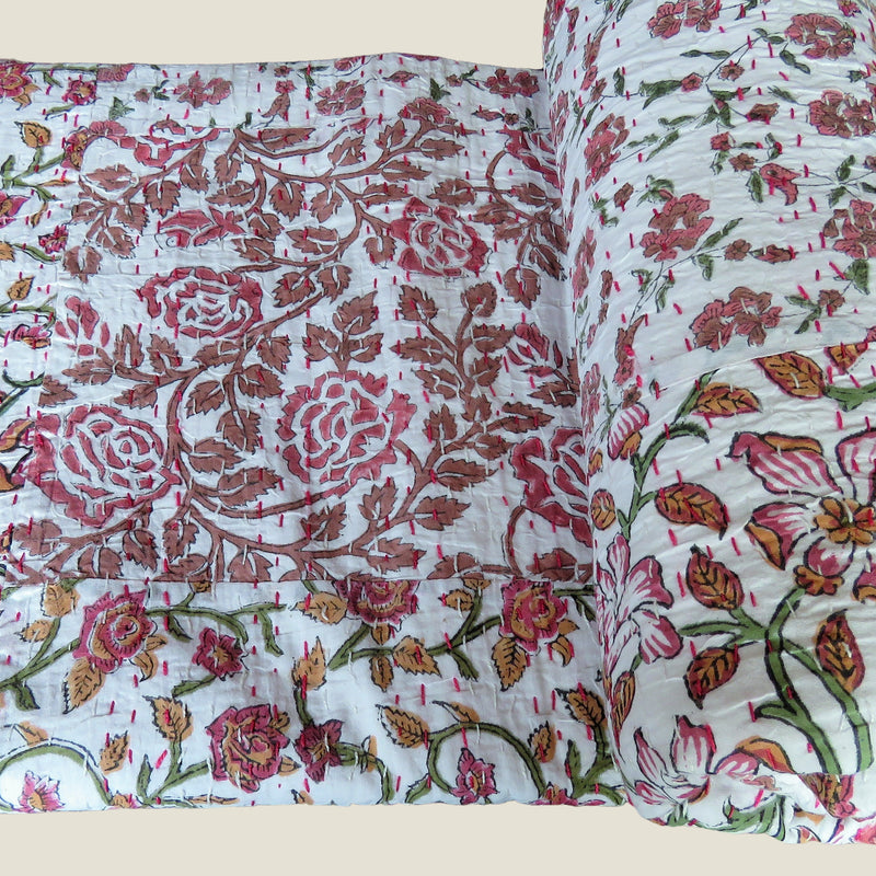 Pink Floral Kantha Bed Cover & Throw - 19