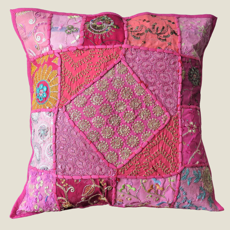 Recycled Pink Patchwork Cushion Cover - 01