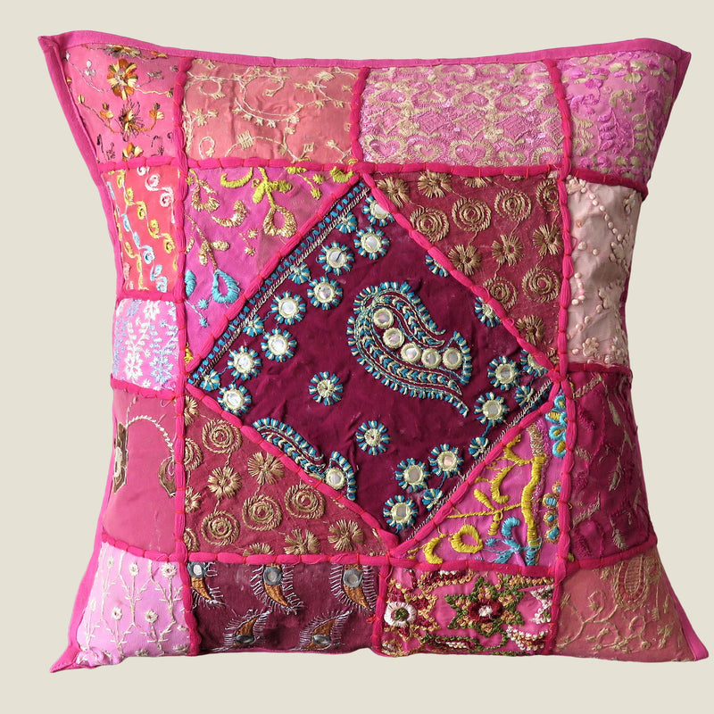 Recycled Pink Patchwork Cushion Cover - 05