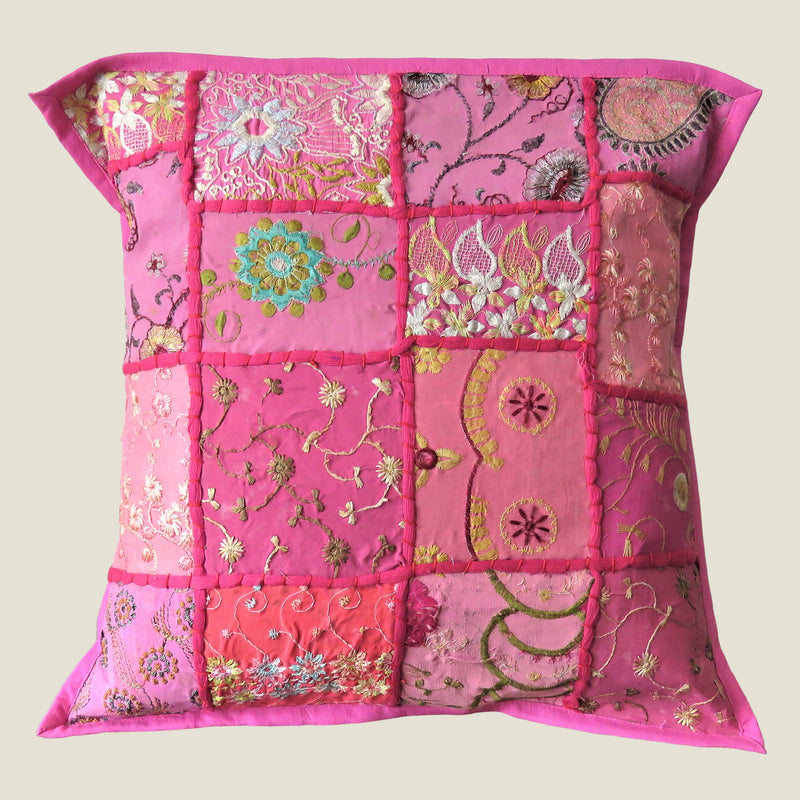 Recycled Pink Patchwork Cushion Cover - 06