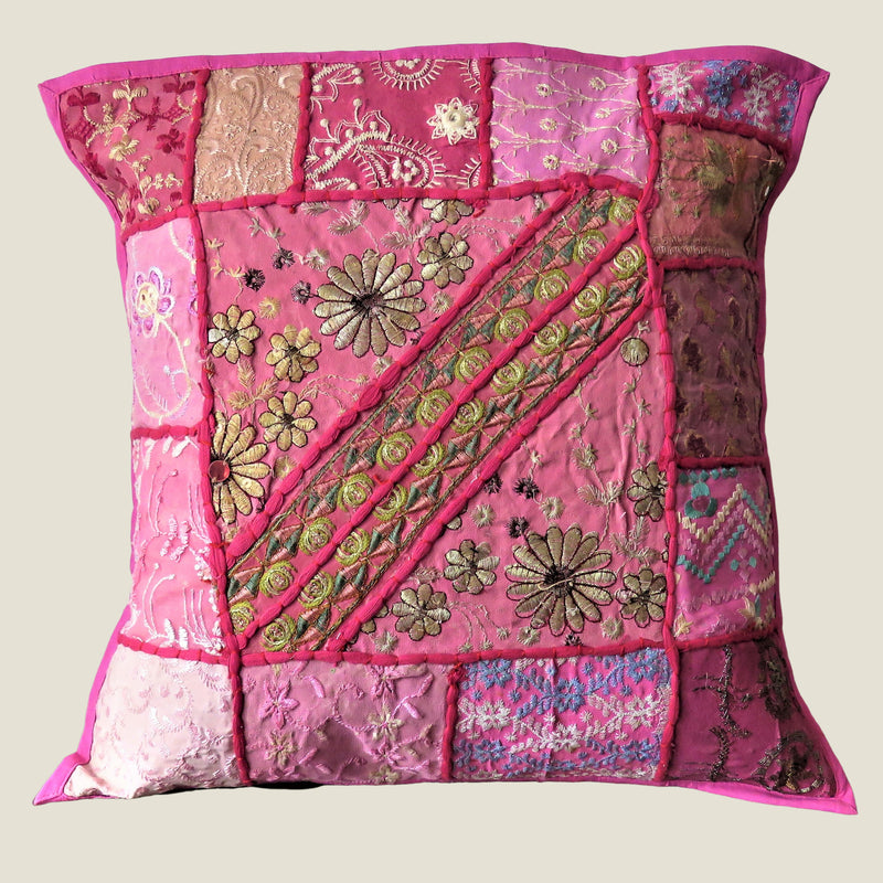 Recycled Pink Patchwork Cushion Cover - 08