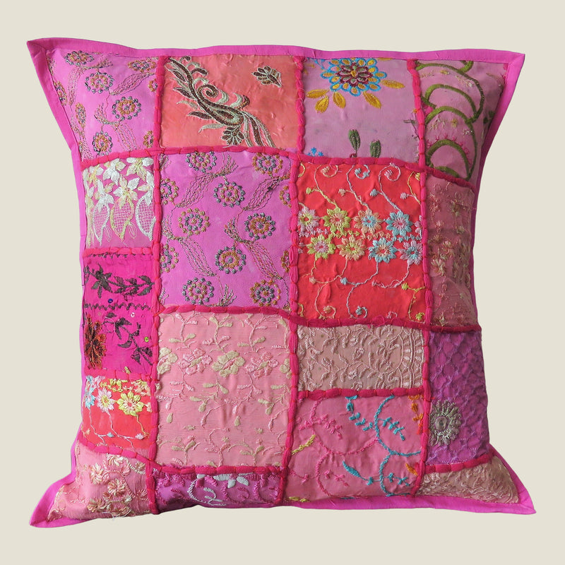 Recycled Pink Patchwork Cushion Cover - 10