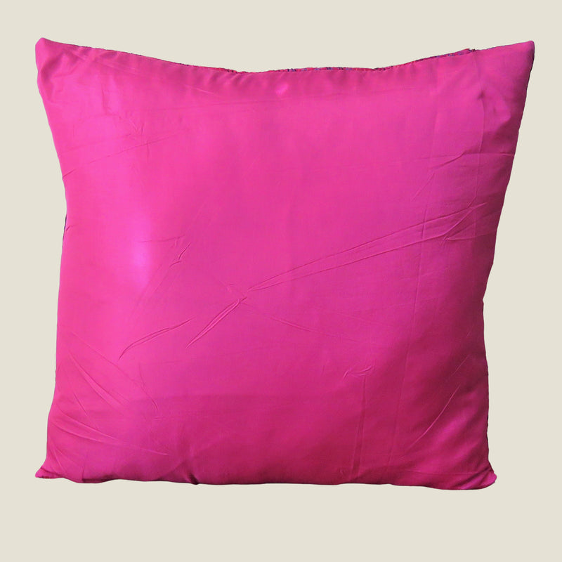 Pink Vintage Silk Kantha Cushion Cover - 12