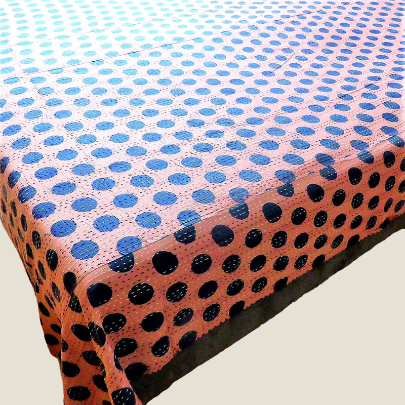 Pink Spotty Kantha Bed Cover & Throw - 33