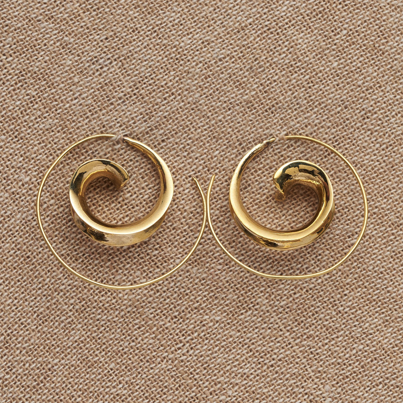 Artisan handmade pure brass, concave spiral wave hoop earrings designed by OMishka.