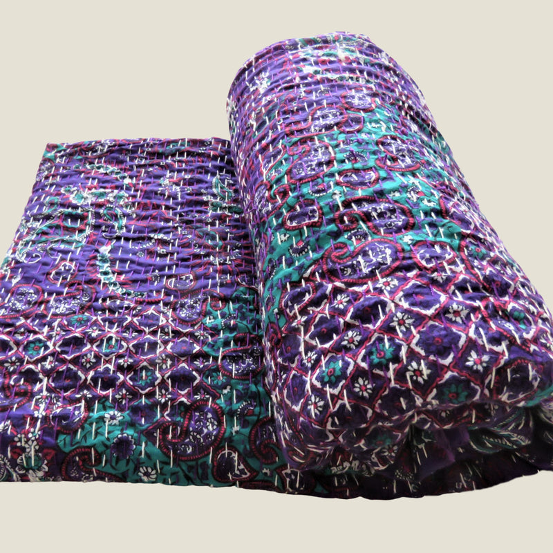 Purple Floral Kantha Bed Cover & Throw - 24