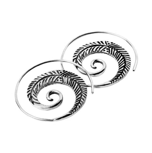 Handmade solid silver, feather detailed, spiral hoop earrings designed by OMishka.