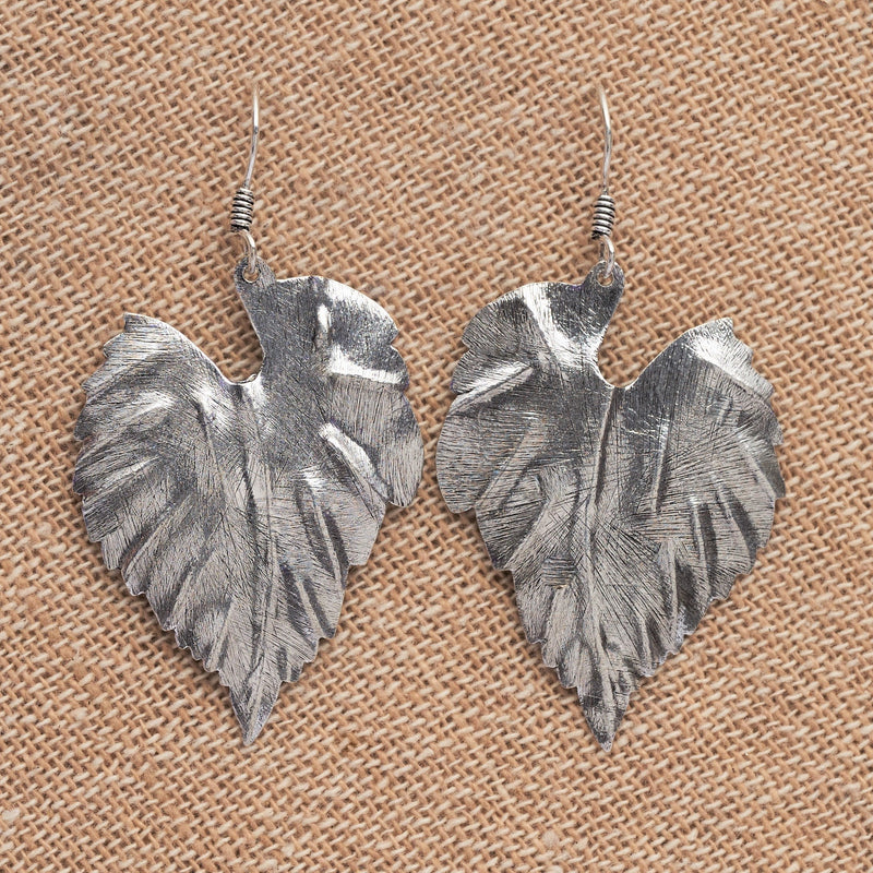 Handmade solid silver, large single leaf drop earrings designed by OMishka.