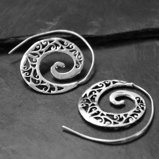 Silver Ivy Spiral Hoop Earrings