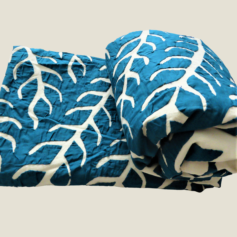 Blue Patchwork Tree of Life Bed Cover & Throw - 03