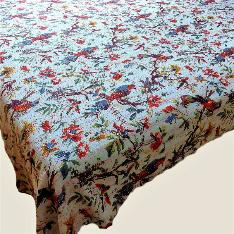 White Bird of Paradise Kantha Bed Cover & Throw - 23