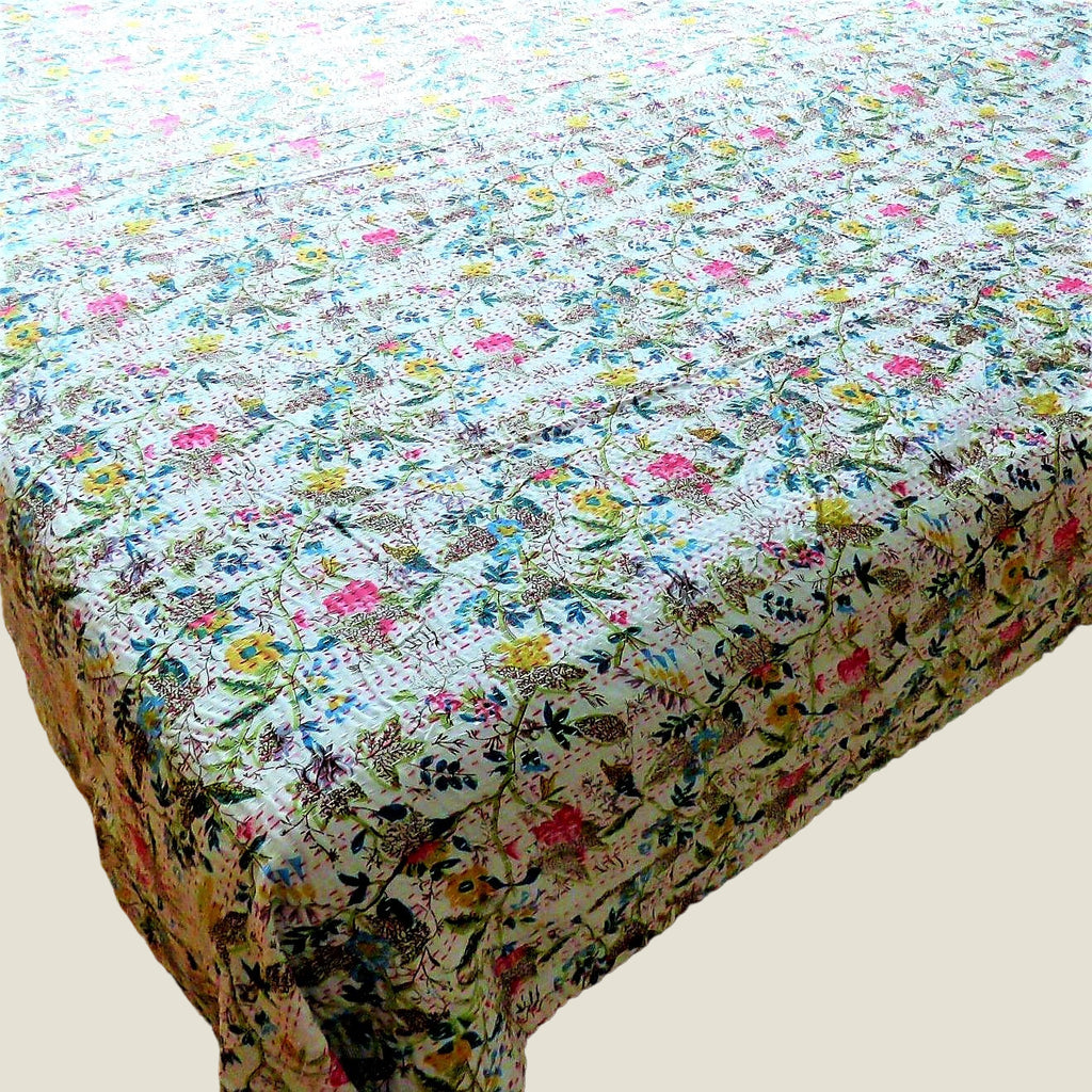 Bright Floral Kantha Bed Cover & Throw - 28