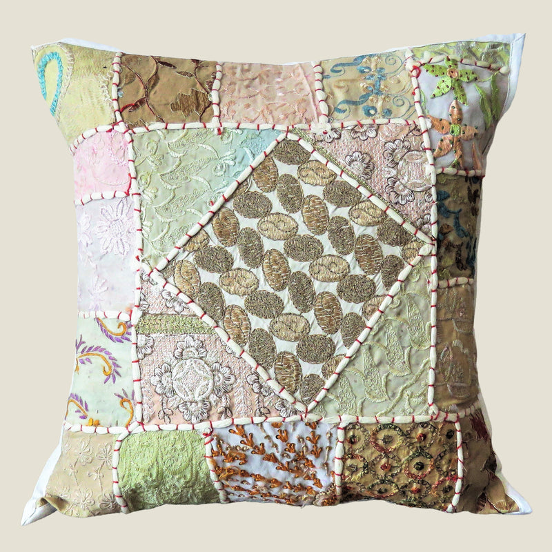 Recycled White Patchwork Cushion Cover - 01
