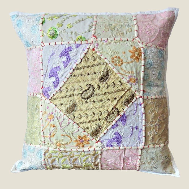 Recycled White Patchwork Cushion Cover - 02