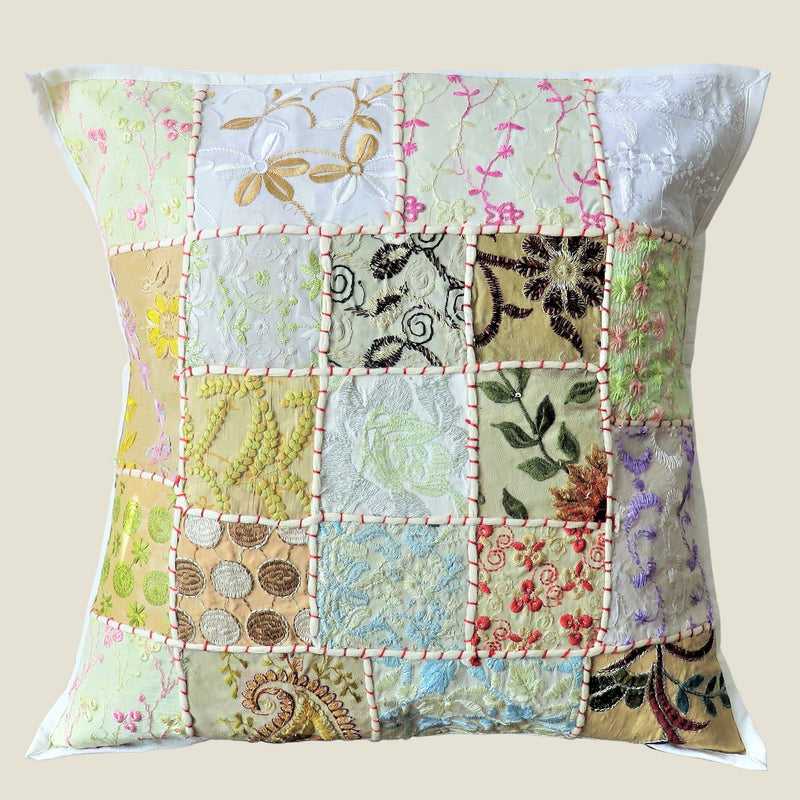 Recycled White Patchwork Cushion Cover - 05