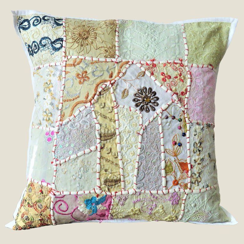 Recycled White Patchwork Cushion Cover - 07