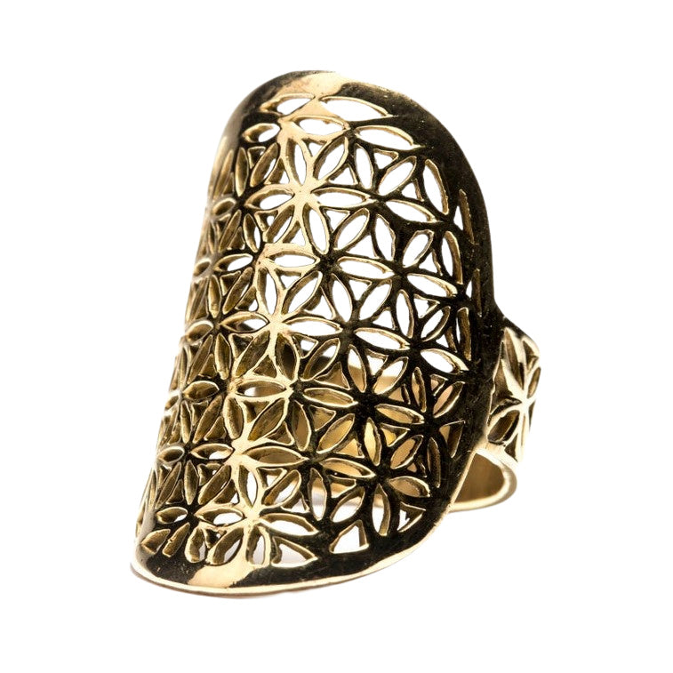 A large, adjustable, nickel free pure brass, flower of life ring designed by OMishka.