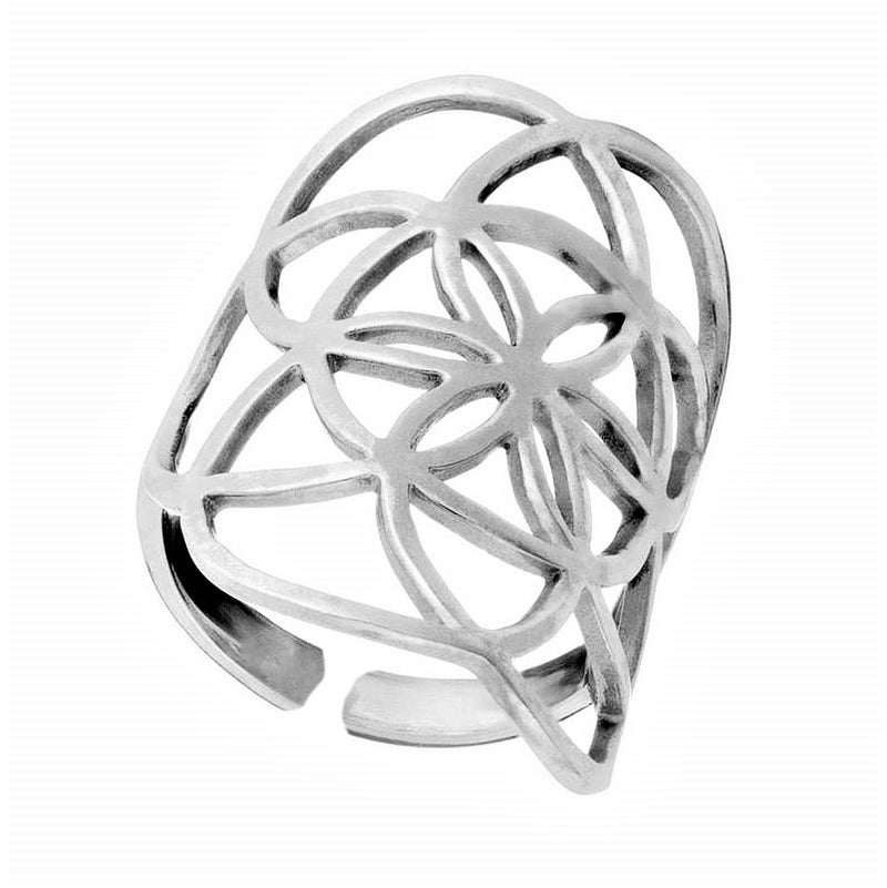 A large, adjustable solid silver, seed of life ring designed by OMishka.