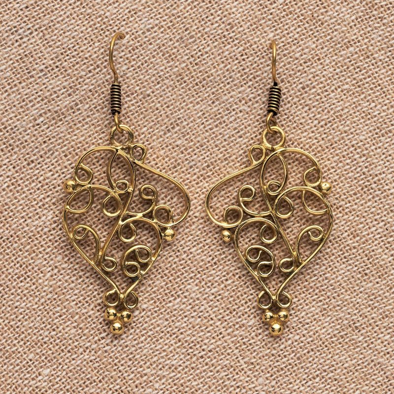 Handmade, large, ornate, nickel free pure brass, swirl and beaded drop earrings designed by OMishka.