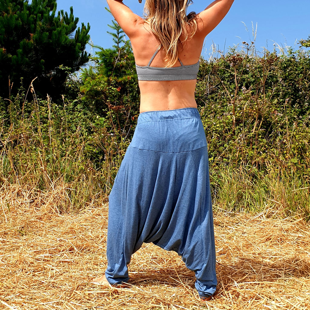 OMishka eco-friendly organic bamboo light blue harem pants adjustable jumpsuit