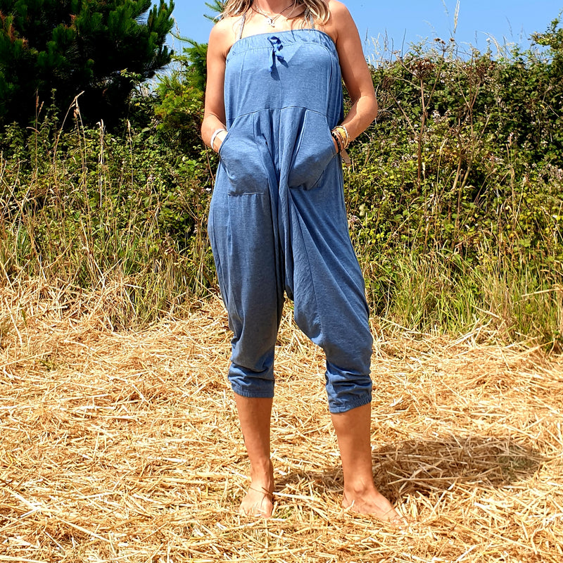 OMishka eco-friendly organic bamboo light blue yoga trousers adjustable jumpsuit