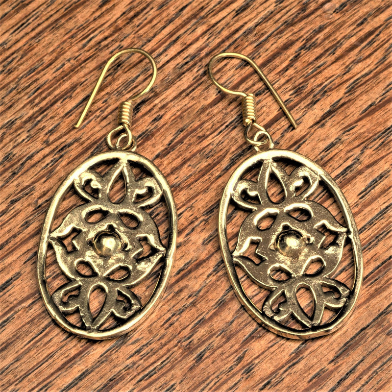 Handmade nickel free pure brass. art nouveaux floral detailed, dangle earrings designed by OMishka.