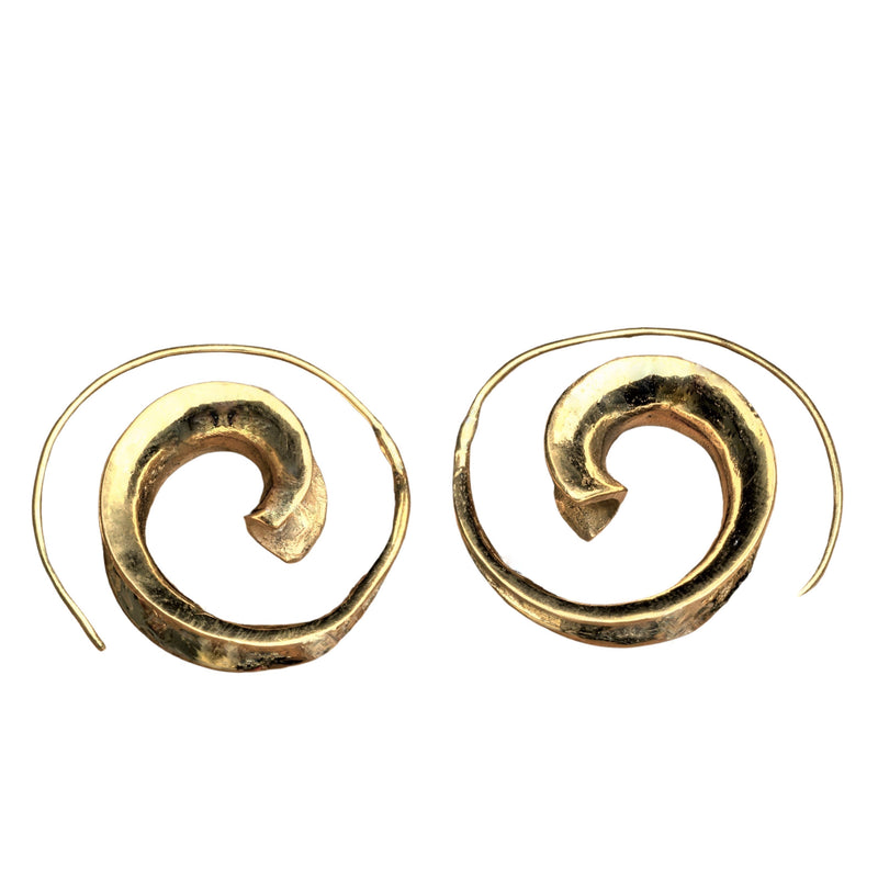 Handmade nickel free pure brass, concave shaped spiral wave hoop earrings designed by OMishka.