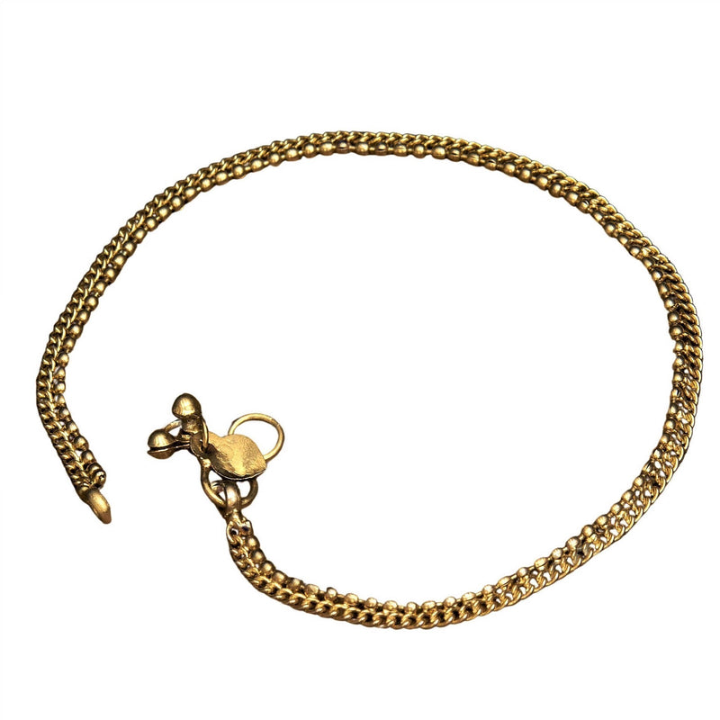 A nickel free pure brass, dainty beaded anklet with tiny bells designed by OMishka.