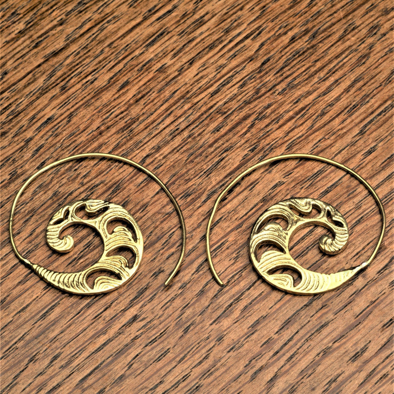 Handmade nickel free pure brass, dainty, crescent and swirl patterned spiral hoop earrings designed by OMishka.