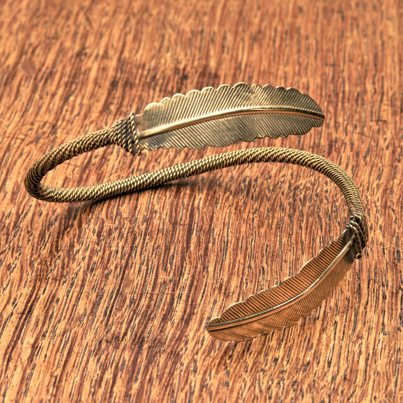A nickel free pure brass, feather wrap bracelet designed by OMishka.