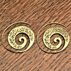Handmade nickel free pure brass, ivy vine spiral hoop earrings designed by OMishka.