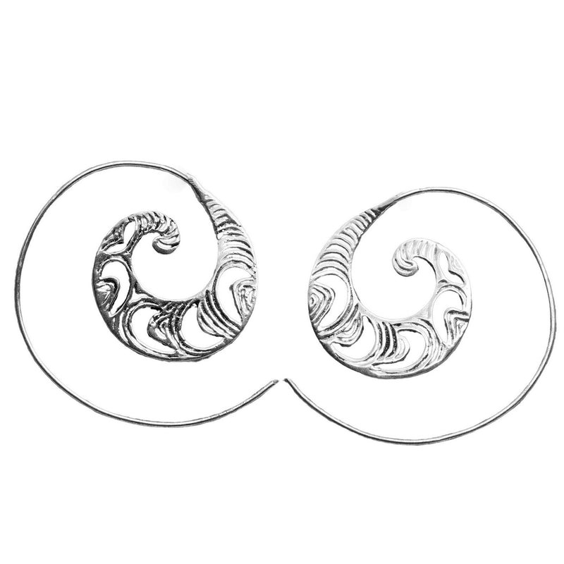 Handmade nickel free solid silver, dainty, crescent and swirl patterned spiral hoop earrings designed by OMishka.