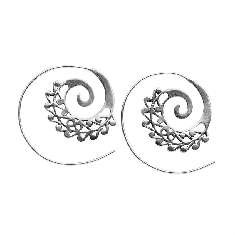 Handmade nickel free solid silver, dainty swirl patterned, spiral threader hoop earrings designed by OMishka.