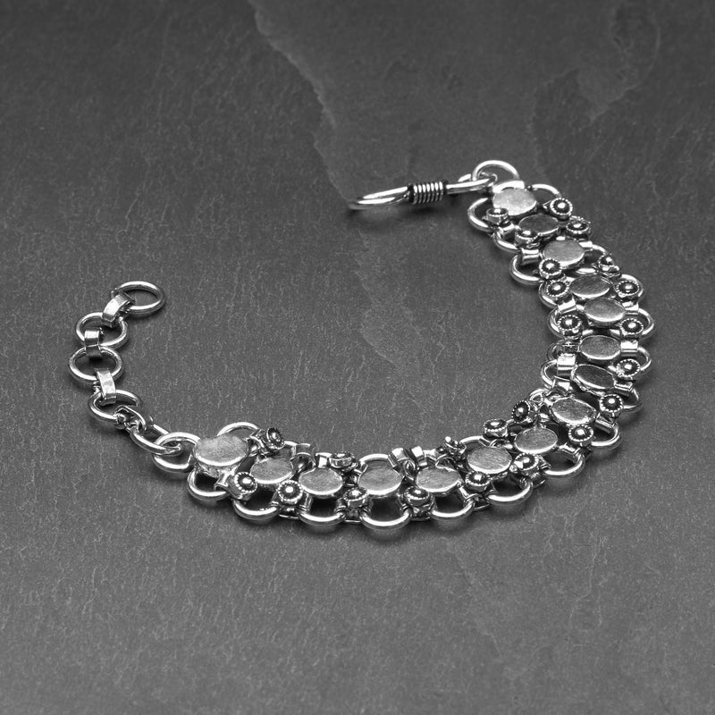 Handmade, oxidised nickel free silver, decorative disc, adjustable circle chainmail designed by OMishka.